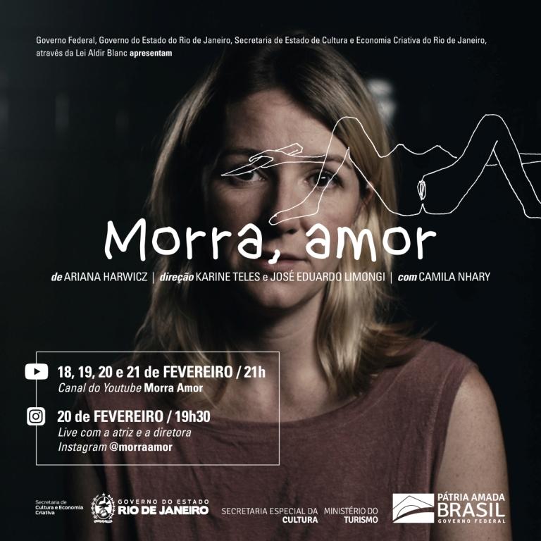 Morra Amor, performace teatral estreia dia 18 de fevereiro no YouTube